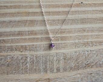 Tiny Birthstone Necklace - Little Girls Sterling Silver Gemstone Layering Necklace - March Birthstone - Aquamarine Necklace - Birthday Gift