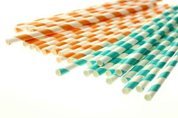 AQUA & ORANGE Eco-friendly Paper Party Straws and Digital Flags - Made in the U S A - - - Fda approved - - - Ships within 1 business day