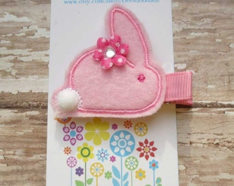 Pink PomPom Bunny Felt Embroidered Hair Clip