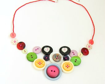 CLEARANCE - Button Necklace Beaded Statement Bib Necklace Sale by Emma Dickie Design
