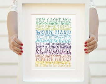 Art print - Rainbow wishes - Family rules