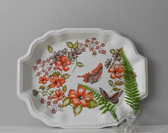 vintage white butterfly breakfast serving tray / french cottage decor