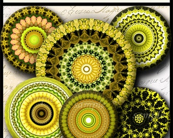 INSTANT DOWNLOAD Yellow Mandalas (705) 4x6 and 8.5x11 ( 30mm ) Digital Collage Sheet glass tiles cabochon pendants images