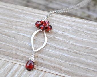 Petite Sterling Silver Garnet Pendant Necklace, Red Garnet Cluster Necklace, Small Silver Leaf Pendant