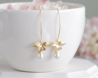 Bridal Pearl Earrings, Wedding Pearl Earrings, Cream White Teardrop Pearls Gold Orchid Flower Long Dangle Earrings, Bridesmaid Earrings