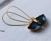 French Navy Blue Art Deco Earrings