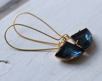French Navy Blue Art Deco Earrings