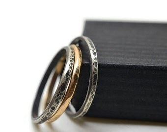 Oxidized Silver Stacking Rings, 14K Gold Filled Stack Ring, Antiqued Silver and Gold Stacker Ring Set, Hammered Rustic Stackable Jewelry