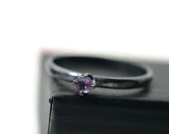 Tiny Amethyst Ring, Minimalist Ring, Black Engagement Ring, Oxidized Silver Ring, Purple Gemstone Ring