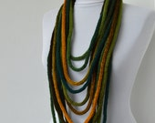 30% OFF SALE - Knit Scarf Necklace - loop scarf - infinity scarf - neck warmer -  knit scarflette - in geen and gold