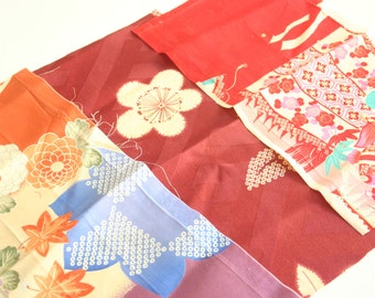 blossoms and vintage colors - 3 pieces of Vintage Kimono Silk Fabric
