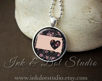 Floral South Dakota State Necklace, South Dakota Love Pendant, Pink South Dakota State Pendant, South Dakota Gift, SD State