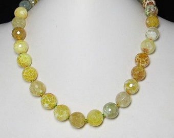 Necklace 19 inch IN Yellow Fire Agate faceted 925 Silver