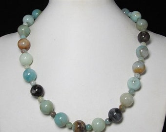 Necklace 19 inch IN Amazonite 14mm and 925 Silver