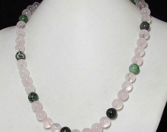 Necklace 20 inch IN Rose Quartz 925 Silver