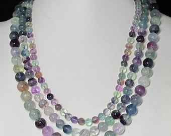 Necklace 18 inch IN 3 rows Fluorite round Beads