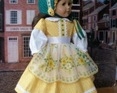 """Mid 1800's  Gown, Bonnet and Pantalettes / Clothes for 18"""" American Girl Dolls"""