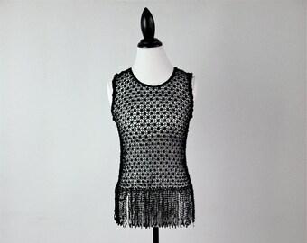 90's Sheer Black Crochet Fringe Tank Top // M
