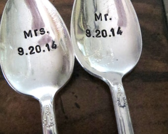 Spoons, Weddng Spoons, Mr. and Mrs. hand stamped silverware, Custom His and her coffee spoons make a unique engagement gift idea under 30