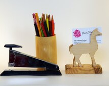 Llama Desk Accessory--Wood holder for business cards, recipes, art cardc,  photography; reclaimed pine base/natural finish, Baltic birch