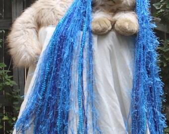 Yarn Hair Falls Long Pair - Silver Touched Blue