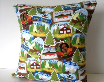 Camp in Woodland Forest Pillow / Cushion Cover