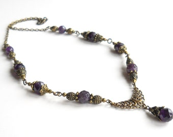 victorian style necklace amethyst necklace purple stone necklace vintage style necklace amethyst jewelry purple necklace