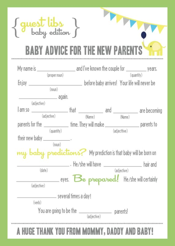 pics photos return from baby shower mad libs baby shower savvy home