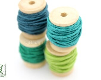Hemp Twine Mini Spools, Shades of Green, High Quality 1mm Hemp Crafting Cord
