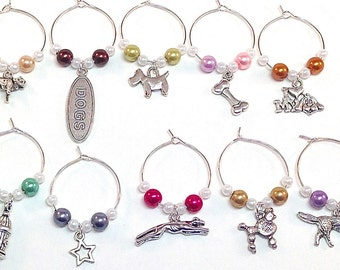 Dog Wine Charms- 10 Dog Lover Wine Charms, Colored Pearls, Wine Glass Accessories, Animal Lover, Bulldog, Bone, Poodle Charms, Wine Tags