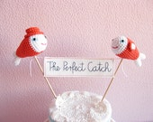 Coral Orange Fish Wedding Cake Topper, Embroidery Banner, THE PERFECT CATCH