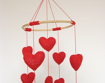 Red Heart Baby Mobile, Valentine Baby Mobile, Red Nursery Decor, Nursery Mobile
