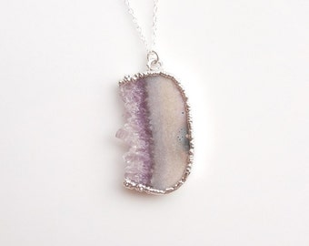 Raw Amethyst Drusy Necklace in Silver - OOAK Jewelry