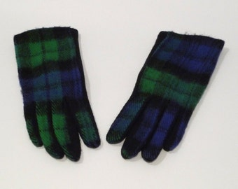 Navy and Green Plaid Gloves Vintage Preppy Plaid Gloves Lightweight Mod Gloves Knit Gloves Punk Womens Gloves