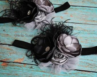 Stunning Vintage Inspired Headband - Black Grey Silver Headband - Persnickety Inspired Headband