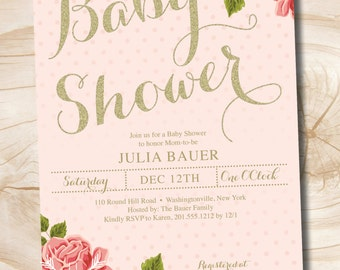 Gold and Floral Shabby Chic Baby Shower Invitation - You Print, diy, printable
