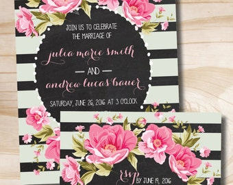 Floral Wedding Invitation and Response Card - Printable Invitation
