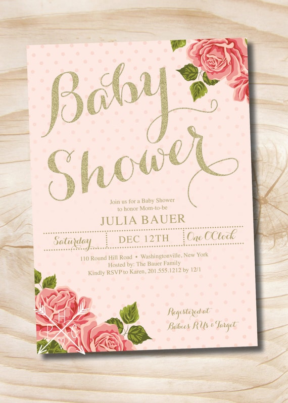 Gold and floral shabby chic baby shower invitation printable like this item filmwisefo Image collections