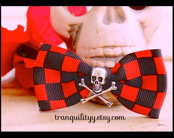 Skull Hair Bows, Psychobilly, Gothic, Scene, Emo, Cyber, Punk, Cosplay , Rave , By: Tranquilityy