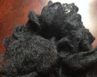 Black Mohair Scarf Knit Scarf Ruffles Silk made in Colorado
