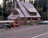 Spirit Lake Lodge - 1958 Kodachrome (Mount St. Helens, Washington) - Fine Art Photograph. Retro gas station road trip decor.