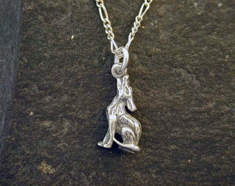 Sterling Silver Coyote Pendant on Sterling Silver Chain.