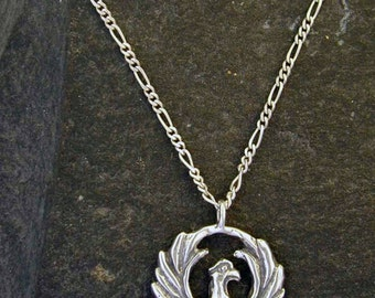 Sterling Silver Original Phoenix Pendant on a Sterling Silver Chain.