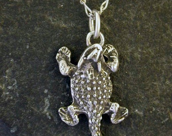 Sterling Silver Horned lizard Horny Toad Pendant on Sterling Silver Chain.