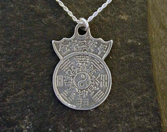 Sterling Silver I Ching Pendant on Sterling Silver Chain.