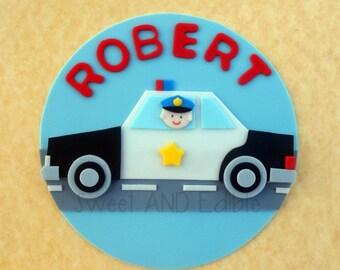 POLICE CAR. Custom Edible CAKE ToPPER