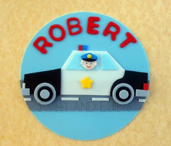 Edible Cake Decorations Cars : POLICE CAR. Custom Edible CAKE ToPPER