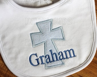 Personalized Monogrammed Cross Applique Baby Gift Set, Baby Gown, Bib, and Burp Cloth