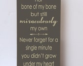 Miraculously My Own, Adoption Sign, Blended Family Sign, Wood Sign, Art for Family, Adoption Gift, Blended Family Gift, Choose Color