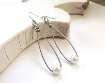 GUITAR STRING EARRINGS - pearl earrings - silver and white - teens and adults - eco-friendly/upcycled jewelry - under 25.00